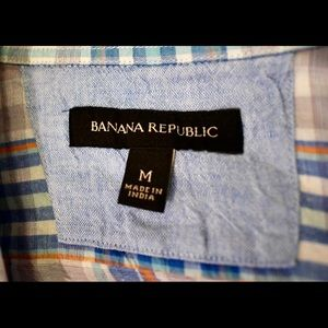 Banana Republic Shirts - Banana Republic Men's plaid linen cotton blend